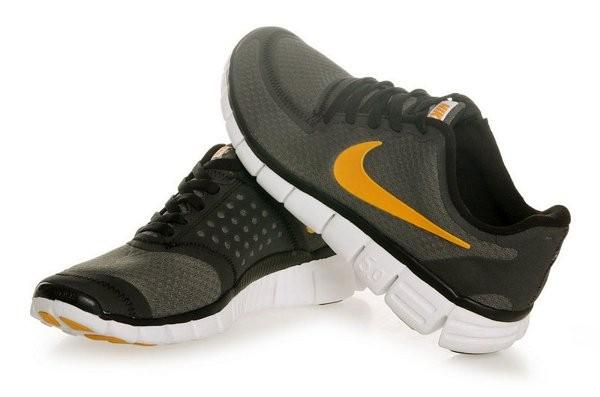 cheaper 3dcf9 24f6f Nike Free 5.0 V4 Chaussures de Course Pied pour Homme Gris Foncé Or Blanc