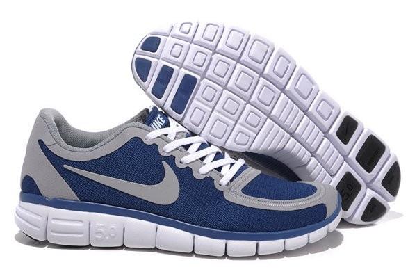 huge selection of 631e0 b1f21 Nike Free 5.0 V4 Chaussures de Course Pied pour Homme Bleu Foncé Gris Blanc
