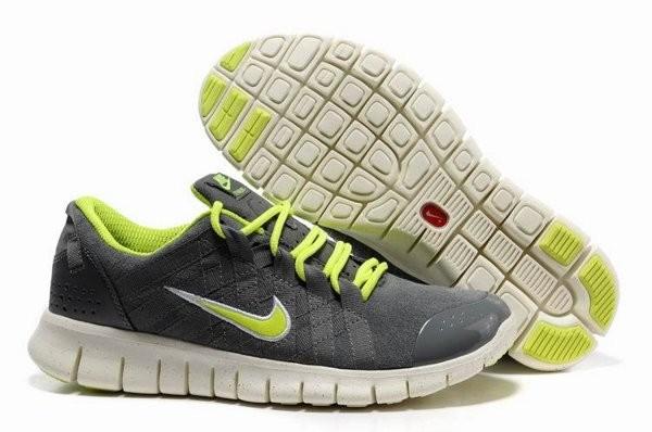 buy popular 2b8d6 f61c8 Nike Free Powerlines Chaussures de Course Pied Pour Homme Gris Foncé Vert  jaune Blanc